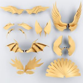 天使翅膀挂件摆件组合模型