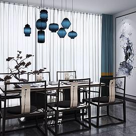 新中式休闲餐桌椅吊灯组合模型
