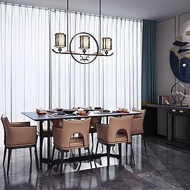 新中式餐桌椅玄关端景柜模型