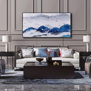 新中式沙发茶几装饰挂画模型3d模型