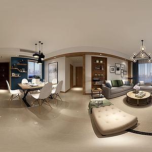 3d北欧风格客餐厅模型