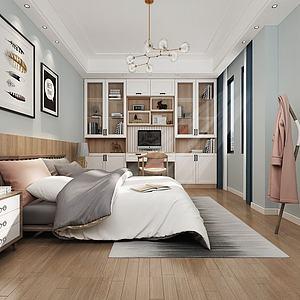 3d现代北欧卧室模型