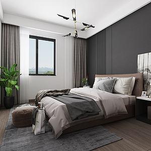 3d现代北欧主卧室模型