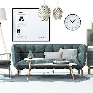 3d北欧沙发单椅茶几边柜模型