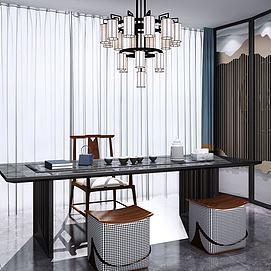 新中式茶桌椅子模型