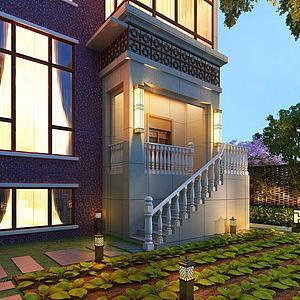 别墅外观庭院3d模型