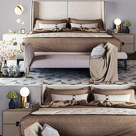現代雙人床邊柜臺燈模型