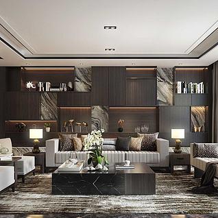 3d現代客廳藝術品陳列柜模型