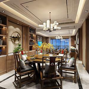 中式餐廳酒柜壁畫吊燈模型3d模型