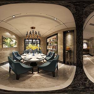 中式客廳餐廳模型3d模型