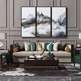 新中式沙發茶幾裝飾掛畫模型