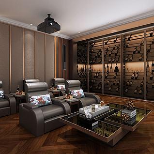 3d現代家庭影院影音室模型