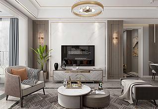 新中式輕奢客廳3d模型