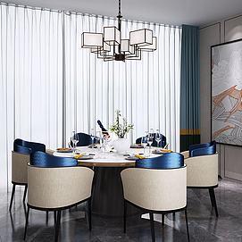 新中式圆形餐桌椅吊灯模型