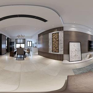 3d新中式客厅餐厅<font class='myIsRed'>转角沙发</font>模型