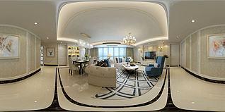 歐式客廳餐廳沙發組合3d模型
