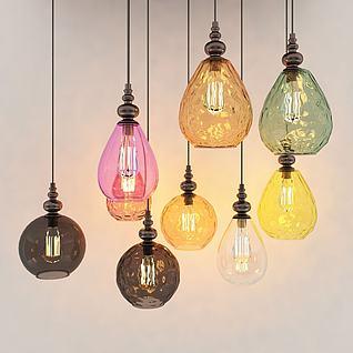 3d現代玻璃吊燈組合模型