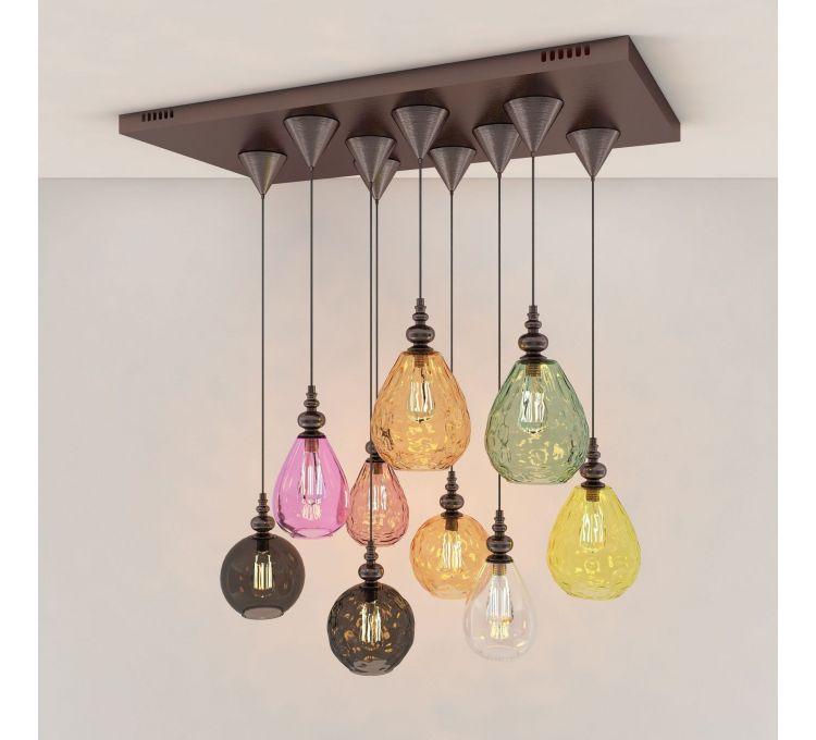 现代玻璃吊灯组合模型
