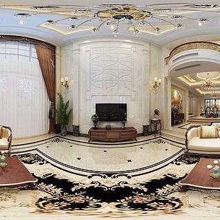 3d歐式客廳餐廳模型