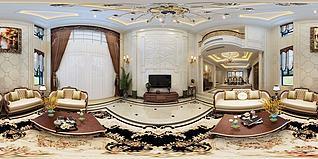 歐式客廳餐廳3d模型