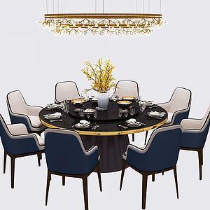 3d现代北欧圆形餐桌椅吊灯模型