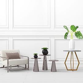 現代沙發綠植擺件架模型