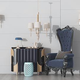 美式沙發邊柜吊燈模型