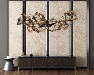 邊柜墻面裝飾3d模型