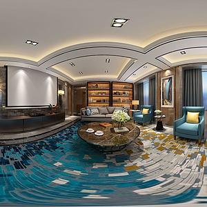 中式客廳沙發茶幾書柜模型3d模型