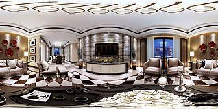 中式客廳餐廳3d模型