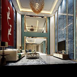 中式別墅客廳樹葉裝飾墻模型