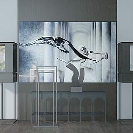 藝術品立柜人物壁畫模型