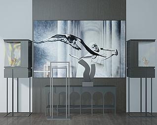 藝術品立柜人物壁畫3d模型