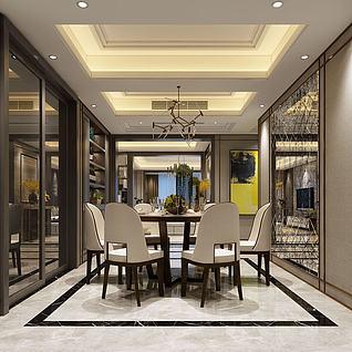 3d現代餐廳餐桌模型