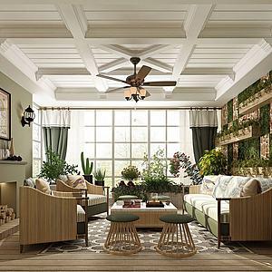 3d田园风格客厅模型