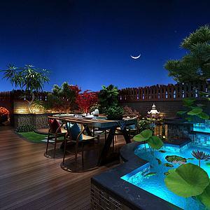 阳台花园景观模型
