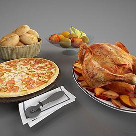 食物烤鸡披萨面包模型