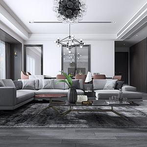 現代客廳沙發皮座椅3d模型