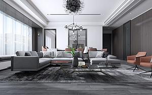 现代客厅沙发皮座椅3d模型