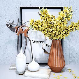 北欧花瓶花艺装饰模型