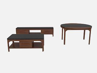 3d简约电视柜茶几餐桌模型