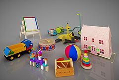 儿童玩具积木画板组合模型3d模型