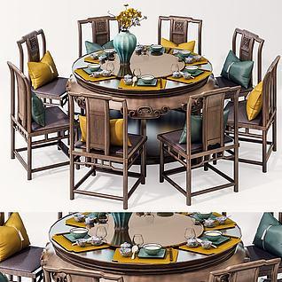 3d新中式餐桌椅模型