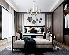 新中式卧室沙发衣柜模型3d模型