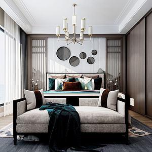 新中式臥室沙發衣柜3d模型