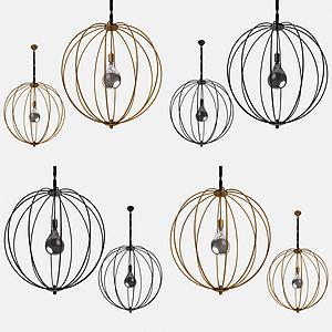 金屬鳥籠吊燈模型3d模型