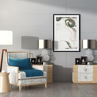 3d沙发边柜台灯模型