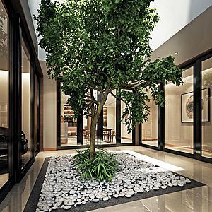 阳台花园绿植树模型