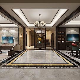 新中式玄关走廊过道模型