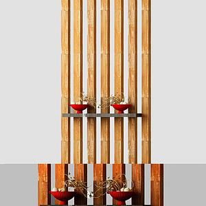 现代木隔断模型